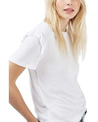 TOPSHOP   White Frill Sleeve Tee   Lyst