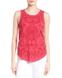 Lucky Brand   Pink Eyelet Embroidered Cotton Tank   Lyst
