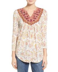 Lucky Brand | Natural Embroidered Bib Knit Top | Lyst