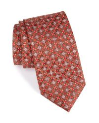 Canali | Red Floral Medallion Silk Tie for Men | Lyst