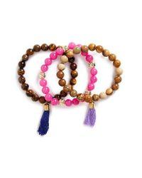 Panacea   Pink Set Of 3 Bead Bracelets   Lyst