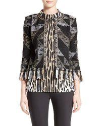 St. John - Black Kiyala Fringe Knit Jacket - Lyst