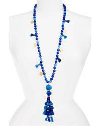 Kate Spade | Blue Pretty Poms Tassel Necklace | Lyst