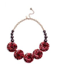 Kate Spade | Red Rosy Outlook Statement Necklace | Lyst