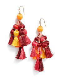 Kate Spade - Red Pretty Pom Tassel Drop Earrings - Lyst