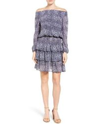 MICHAEL Michael Kors | Blue Zephyr Print Chiffon Smocked Off The Shoulder Dress | Lyst