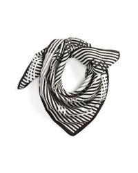 KENZO | Black Graphic Square Silk Scarf | Lyst