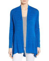 Eileen Fisher | Blue Shaped Organic Linen Blend Cardigan | Lyst