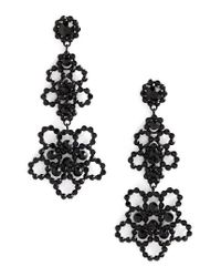 kate spade new york | Black Crystal Lace Drop Earrings | Lyst
