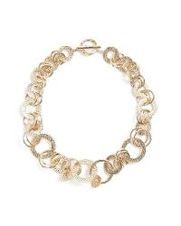 St. John | Metallic Hammered Link Necklace | Lyst