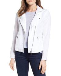 NIC+ZOE | White Linen Blend Biker Jacket | Lyst