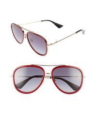 Gucci   Metallic 57mm Aviator Sunglasses - Glitter Red/ Blue   Lyst