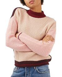 TOPSHOP - Pink Colorblock Sweater - Lyst