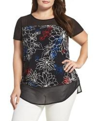 Vince Camuto Black Floral Coastlines Mixed Media Top