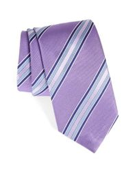 David Donahue | Purple Stripe Silk Tie for Men | Lyst