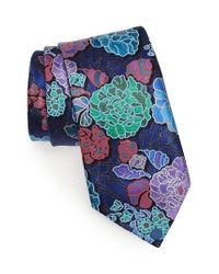 Ermenegildo Zegna - Blue Quindici Floral Silk Tie for Men - Lyst