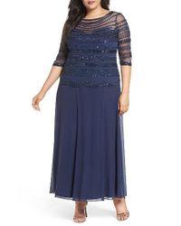 Pisarro Nights   Blue Embellished Chiffon Long Dress   Lyst