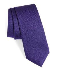 Calibrate | Purple Saffron Solid Silk Skinny Tie for Men | Lyst