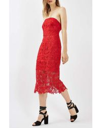 TOPSHOP | Red Strapless Lace Midi Dress | Lyst
