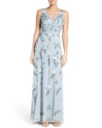 Adrianna Papell | Blue Beaded Applique Gown | Lyst