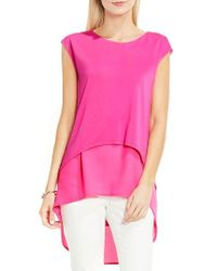 Vince Camuto - Pink Layered Look High/low Top - Lyst