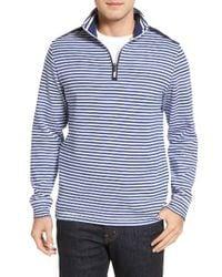 Bugatchi | White Quarter Zip Stripe Pullover for Men | Lyst