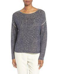 Eileen Fisher   Blue Organic Linen & Cotton Sweater   Lyst