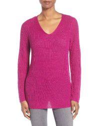 Eileen Fisher | Pink V-neck Organic Linen Sweater | Lyst