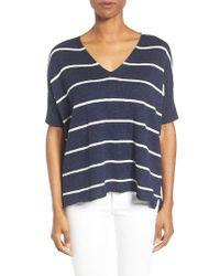 Eileen Fisher   Blue Organic Linen & Cotton Stripe Sweater   Lyst