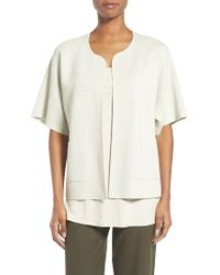 Eileen Fisher | White Silk & Organic Cotton Cardigan | Lyst