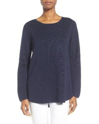 Eileen Fisher | Blue Silk & Organic Cotton Pullover | Lyst