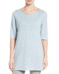 Eileen Fisher - Blue Organic Linen & Cotton Slub Tee - Lyst