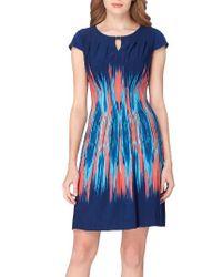 Tahari | Blue Flame Print Jersey Sheath Dress | Lyst