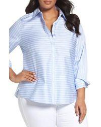 Foxcroft | Blue Non-iron Stripe Cotton Sateen Shirt | Lyst