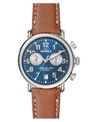 Shinola | Blue The Runwell Chronograph Leather Strap Watch | Lyst