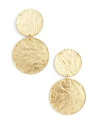 Karine Sultan | Metallic Large Disc Drop Earrings | Lyst