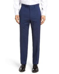 Santorelli | Blue Flat Front Solid Wool Trousers for Men | Lyst