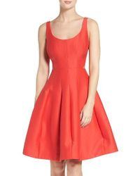 Halston Heritage | Red Cutout Fit & Flare Dress | Lyst