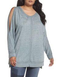 Caslon - Gray Caslon Cold Shoulder Burnout Sweatshirt - Lyst