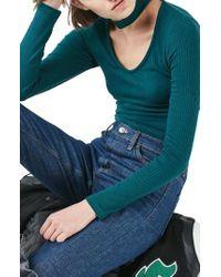 TOPSHOP | Blue Long Sleeve Choker Collar Crop Top | Lyst