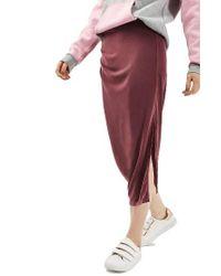 TOPSHOP | Multicolor Drape Midi Skirt | Lyst