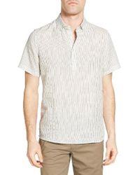 Singer + Sargent - White Stripe Linen Popover Sport Shirt for Men - Lyst