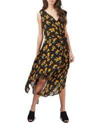 TOPSHOP | Black Marigold Wrap Midi Dress | Lyst