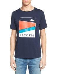Lacoste | Blue Sport Geometric T-shirt for Men | Lyst