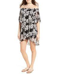 Moon River | Black Floral Print Off The Shoulder Dress | Lyst