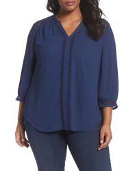 Sejour | Blue Lace Inset Split Neck Blouse | Lyst