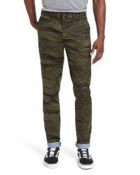 Lacoste | Black L!ve Slim Fit Print Stretch Twill Pants for Men | Lyst