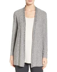 Eileen Fisher | Metallic Tencel Open Front Cardigan | Lyst