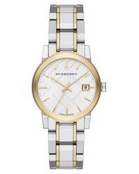 Burberry Metallic Medium Check Stamped Bracelet Watch