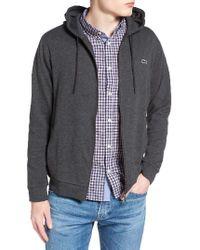 Lacoste Gray Fleece Zip Hoodie for men
